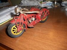 """1930 CAST IRON MOTORCYCLE WITH SIDE CAR 9"""" HEAVY GRANDPA's OLD TOY"""