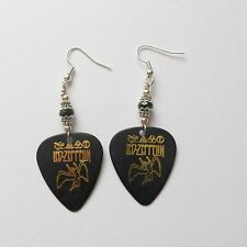 LED ZEPPELIN GUITAR PICK PLECTRUM CRYSTAL SILVER PLATED Orecchini