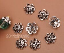 100pcs Tibetan silver  hollow flower beads cap Bead Caps 10x4mm B3191