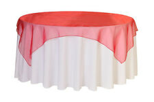 90 Inch Square Organza Table Overlays Red