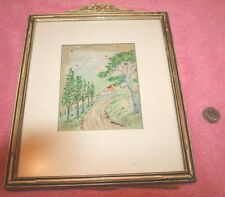 Vintage Old Paper Water Color Painting in Frame some holes in pic