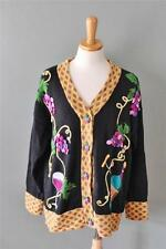 Wine and Grapes Sweater cardigan jumper HSN Women L Storybook Knits black CS16