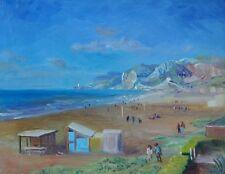 François Baboulet (1914-2010) Peintre Marine Plage Normandie Ciel bleu
