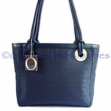 OROTON New Stencil Large Tote Shoulder Hand Bag Navy Leather Navy Jacq Tag + Bag