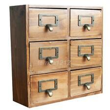 Wood Storage Box Case Container Jewelry Box Decorative 6 Drawers Retro Home