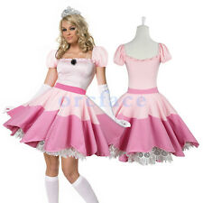 Sexy Lady Princess Peach Costume Cosplay Fancy Dress Mario Outfit One Size Pink