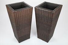 2x Cache-pot/pot De Fleur En Rotin Synthétique H 65cm