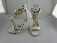 Women's Open Toe T Strap Stiletto High Heels in White, Size 5.5