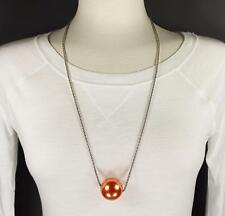 """Orange Peach big huge faux pearl necklace bead beaded 29"""" long statement sweater"""