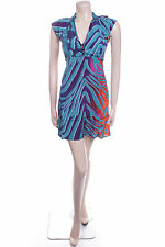 New Ladies Carbon Size 12 Bold Green Blue Swirl Pretty Floaty Summer Dress