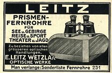 E. Leitz Wetzlar Optische Werke  PRISMEN- FERNROHRE Historische Reklame von 1920