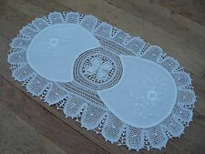 "Linen lace table center mat White Oval Doily 17"" x 10"" Vintage hand made cloth"