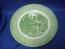 """""""The Old Curiosity Shop"""" Dinner Plate 10"""" Green CURRIER & IVES Royal China"""