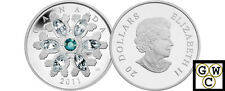 2011 'Emerald Crystal Snowflake' Proof $20 Silver Coin .9999 Fine (NT) (12873)