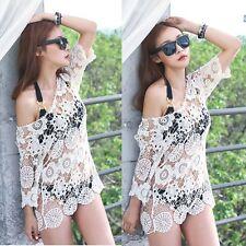Sexy Woman Lady Summer Lace Crochet Beach Dress Swimwear Hollow Bikini Cover Up