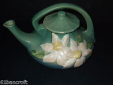 "Vintage Large Roseville Art Pottery Teapot ""Clematis"" Green #5--Made in the USA"
