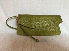NEW GIANNI CHIARINI Green Convertible Shoulder Bag Clutch Woven Leather ITALY