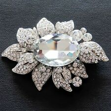 Flower Silver-coloured Metal Brooch with Clear Faceted Glass Gems