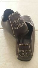 Authentic Chanel CC Logo Brown Leather Shoes Boots Flat 36.5 Great Condition