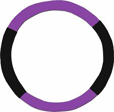 BLACK AND PURPLE STEERING WHEEL COVER - LIKE SEAT COVERS - CHOOSE COLORS