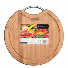BAMBOO Cutting Chopping Board WITH STAINLESS STEEL Handle Wooden Round HAVANA