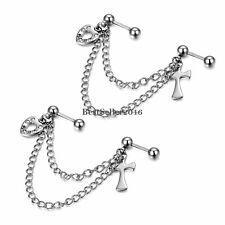 Stainless Steel Love Heart Cross Double Cartilage Chain Earring Silver Tone