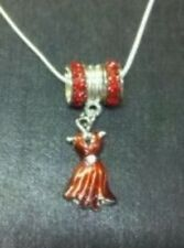 "NEW Red Fashion Hat Lady with Rhinestone .925 18"" Necklace for Society Lady"