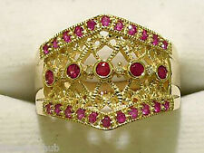R100 WIDE Genuine 9ct Heavy SOLID Gold NATURAL RUBY & DIAMOND Ring size N