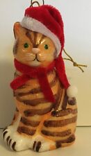 BROWN STRIPED GLASS KITTY CAT IN SANTA HAT SCARF XMAS ORNAMENT BY KURT ADLER