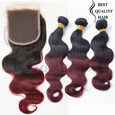 300g Body Weave 1B/99J Ombre Remy Human Hair Weave and One Lace Top Closure Hair