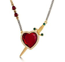 Disney Couture Snow White Gold-Plated Red Crystal Heart & Dagger Necklace