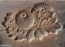 EDO ANTIQUE JAPANESE KASHIGATA Carved Wooden Cake Mold -  Dandelion