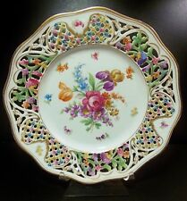 "BEAUTIFUL SCHUMANN DRESDEN 10 3/8"" DINNER PLATE RETICULATED MULTICOLOR GOLD NICE"
