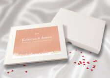 Personalised A5 White Linen Finish Wedding Guest Book - Peach Snowdrop
