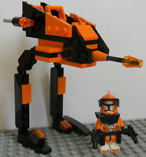 Lego Star Wars Clone Wars Custom Commander Cody & Matching 8014 Black Walker