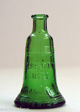 "Wheaton Green Glass Liberty Bell Bottle 3"" Mini Miniature Vintage"