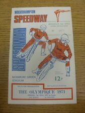 07/05/1971 Speedway Programme: The Olympique [At Wolverhampton] (writing inside/
