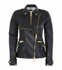 BRAND NEW BURBERRY WOMENS LEATHER biker JACKET black SIZE 8!! WITH ORIGINAL TAGS