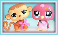 "❤️2 Littlest Pet Shop LPS Large Size JUMBO 4.5"" DECO Pets Monkey & Penguin Lot❤️"