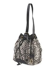 Lucky Brand - NWT $88   Black Ikat Bali Hai Linen Blend Canvas Bucket Bag