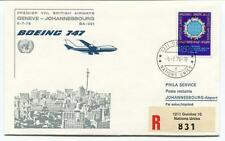 FFC 1976 Phila Service First Flight B 747 Geneve Johannesbourg REGISTERED Onu