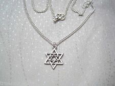 """*STAR OF DAVID* Silver Plated Necklace 18"""" Chain Tibetan Silver Gift Bag"""