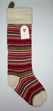 POTTERY BARN KIDS Fair Isle Multi Stripe Ivory Christmas Stocking, NEW- DAD MONO