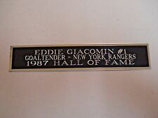 Eddie Giacomin Rangers Nameplate For A Signed Hockey Stick Case Or Photo 1.25X6