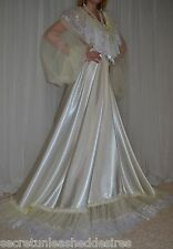 Vtg satin nylon lace lingerie nightgown long full sweep negligee 2X-3X