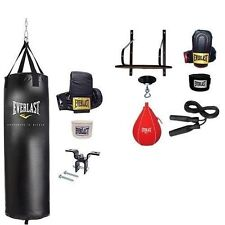 Everlast 70 lb Heavy Punching Bag Set with Bonus 6 Pc Speed Bag Platform Kit NEW