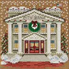 Cross Stitch Kit ~ Mill Hill Buttons & Beads Christmas Town City Bank #MH14-5302