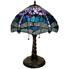 Table Lamp Handcrafted Tiffany Style Stained Glass Dragonfly Shade 2 Light