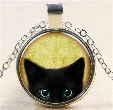 Vintage Black Cat  Cabochon Silver Glass Chain Pendant Necklace NEW166