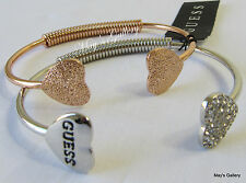 GUESS Jeans Rhinestones  Bangle  Bracelet Logo  Rose Gold Silver Tone Charms NWT